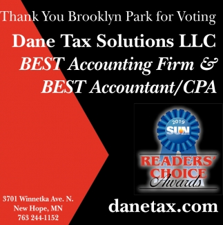 Thank You Brooklyn Park for Voting Dane Tax Solutions LLC Best Accounting Firm & Best Accountant/CPA