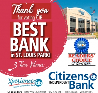 Thank You for Voting CIB Best Bank in St. Louis Park!