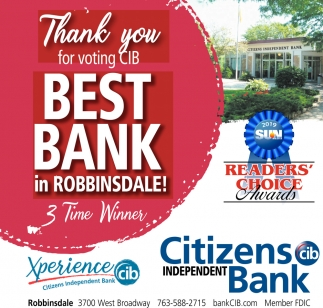 Thank You for Voting CIB Best Bank in Robbinsdale!