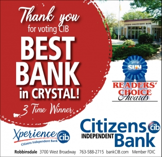 Thank You for Voting CIB Best Bank in Crystal!