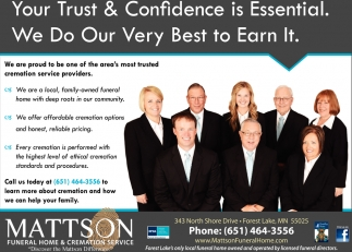 Your Trust Confidence Is Essential Mattson Funeral Home