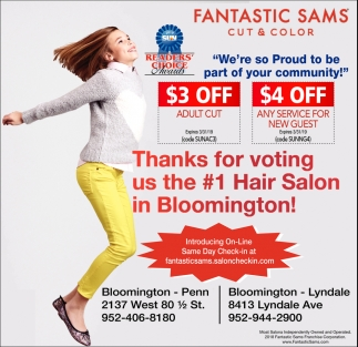 Thanks for Voting Us the #1 Hair Salon in Bloomington!