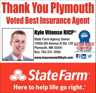Thank You Plymouth Voted Best Insurance Agent