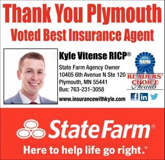 Thank You Plymouth Voted Best Insurance Agent Statefarm Kyle Vitense Minneapolis Mn