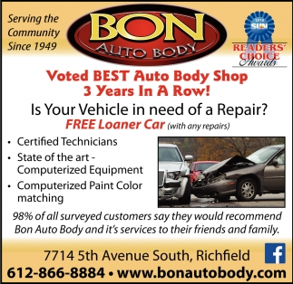 Voted Best Auto Body Shop 3 Years in a Row!