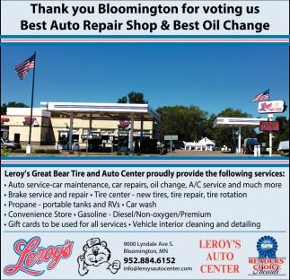 Thank You Bloomington for Voting Us Best Auto Repair Shop & Best Oil Change