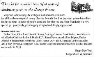 Thank Your Another Beautiful Year of Kindness Given to the Lange Home