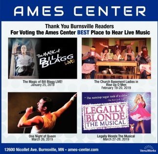 Thank You Burnsville Readers for Voting the Ames Center Best Place to Hear Live Music