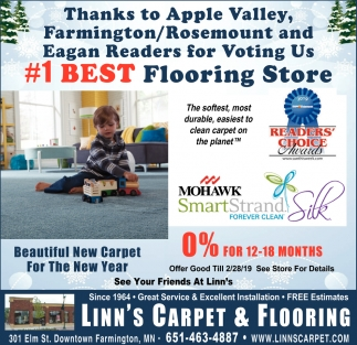 Thanks to Apple Valley, Farmington/Rosemount and Eagan Readers for Voting Us #1 Best Flooring Store