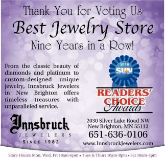 Thank You for Voting Us Best Jewelry Store Nine Years in a Row!