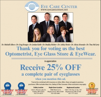 Receive 25% OFF a Complete Pair of Eyeglasses