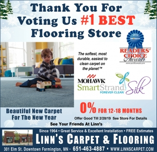 Thank You for Voting Us #1 Best Flooring Store