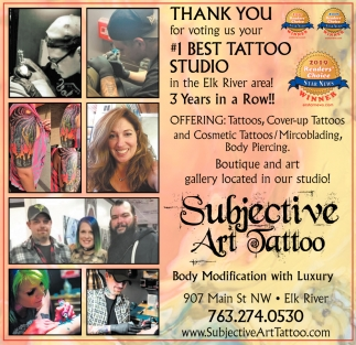Thank You for Voting Us Your #1 Best Tattoo Studio in the Elk River Area!