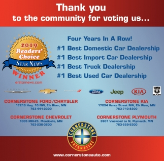 Cornerstone Auto Elk River >> Thank You To The Community For Voting Us Four Years In A