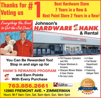 Thanks for Voting Us #1 Best Hardware Store 7 Years in a Row & Best Paint Store 2 Years in a Row!