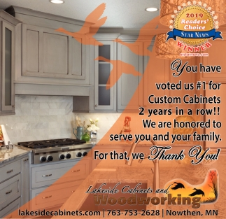 You Have Voted Us #1 For Custom CAbinets 2 Years In A Row!, Lakeside  Cabinets And Woodworking, Minneapolis, MN
