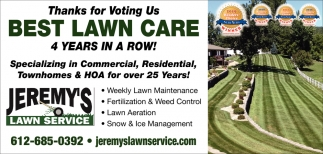 Thanks for Voting Us Best Lawn Care 4 Years in a Row!