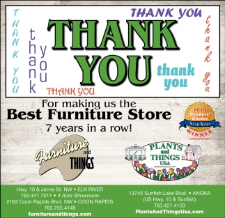 Thank You for Making Us the Best Furniture Store 7 Years in a Row!