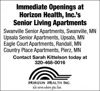 Immediate Openings at Horizon Health, Inc.'s Senior Living Apartments