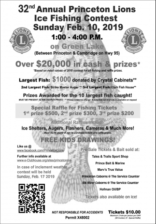 32nd Annual Princeton Lions Ice Fishing Contest, 32nd Annual