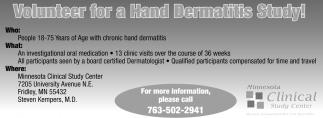 Volunteer for a Hand Dermatitis Study!