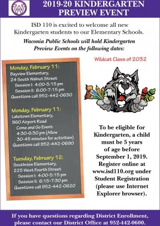 2019-20 Kindergarten Preview Event