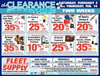 The Clearance Saturday, February 2