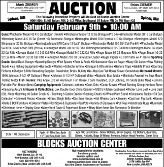 Auction Saturday February 9th