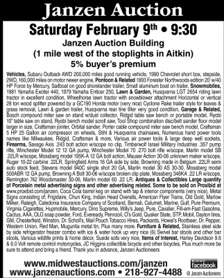 Janzen Auction Saturday February 9th