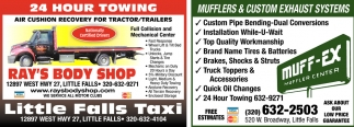 24 Hour Oil Change >> 24 Hour Towing Ray S Body Shop Muff Ex Little Falls Mn