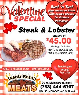 Valentine Special Steak & Lobster