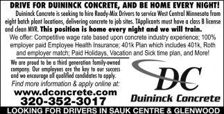 Drive for Duininck Concrete, and be Home Every Night!