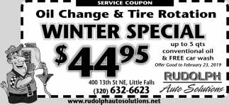 Oil Change & Tire Rotation Winter Special