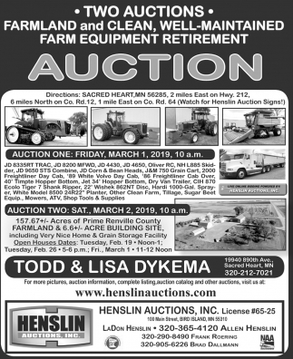 Farmland and Clean, Well-maintained Farm Equipment Retirement Auction