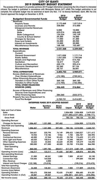 2019 Summary Budget Statement