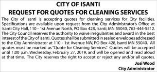 Request for Quotes for Cleaning Services