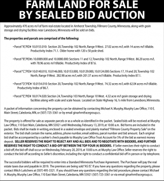 Farm Land for Sale by Sealed Bid Auction