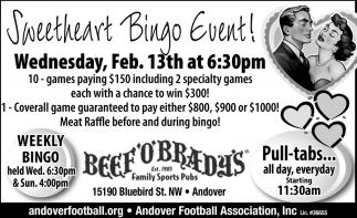 Sweetheart Bingo Event!