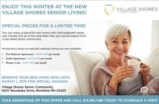 Enjoy this Winter at The New Village Shores Senior Living!