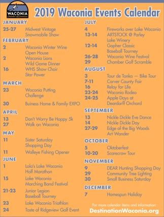 2019 Waconia Events Calendar