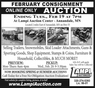 February Consignment Online Only Auction