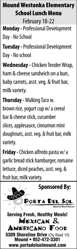 Mound Westonka Elementary School Lunch Menu