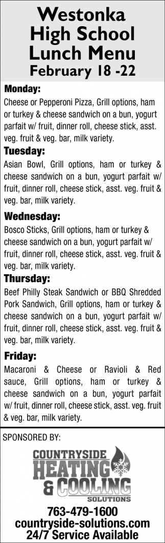 Westonka High School Lunch Menu