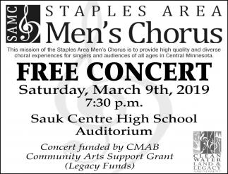 SAMC - Staples Area Men's Chorus Free Concert