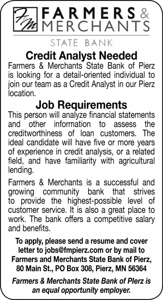 Credit Analyst Needed