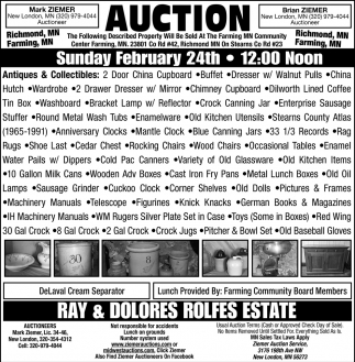 Auction Sunday February 24th