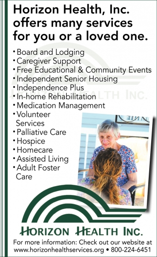 Horizon Health, Inc. Offers Many Service for You or a Loved One