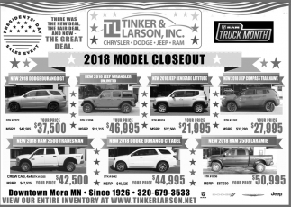 2018 Model Closeout