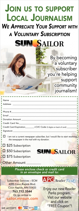 We Appreciate Your Support with a Voluntary Subscription
