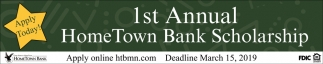1st Annual HomeTown Bank Scholarship